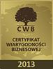 Certyfikat Wiarygodności Biznesowej 2013